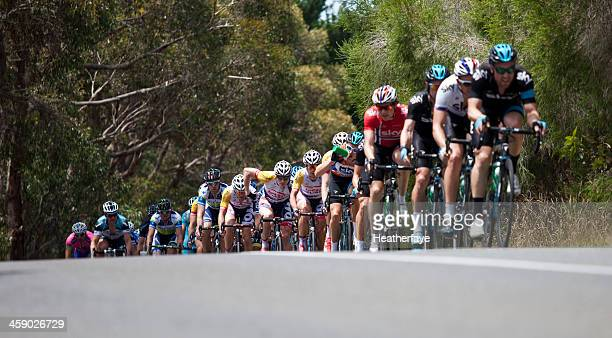 group of cyclists competing in a major race. - sports team event stock photos and pictures