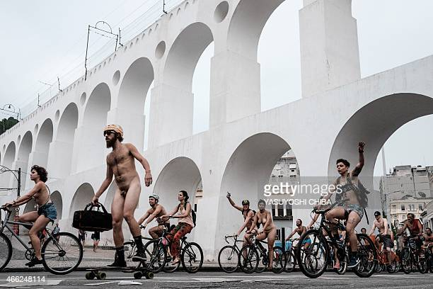 A group of cyclists ride naked to demand better conditions on roads in the city and to draw attention from car drivers as part of the World Naked...