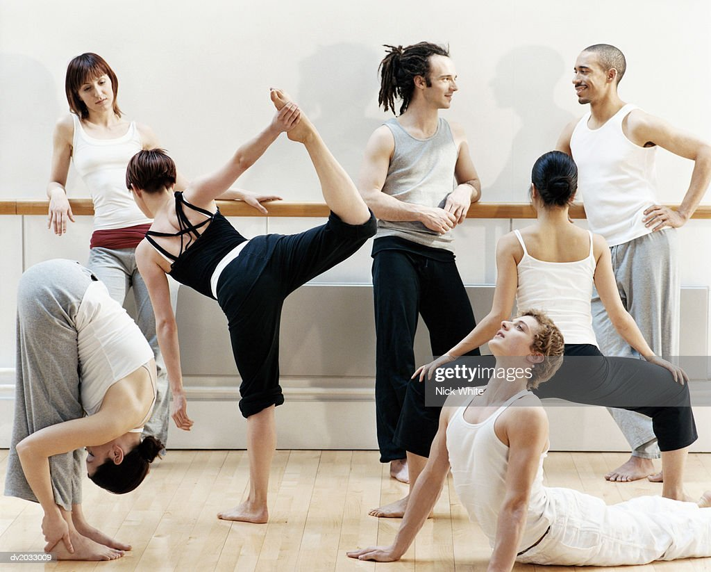 Group of Dancers Doing Stretching Exercises : Stock Photo