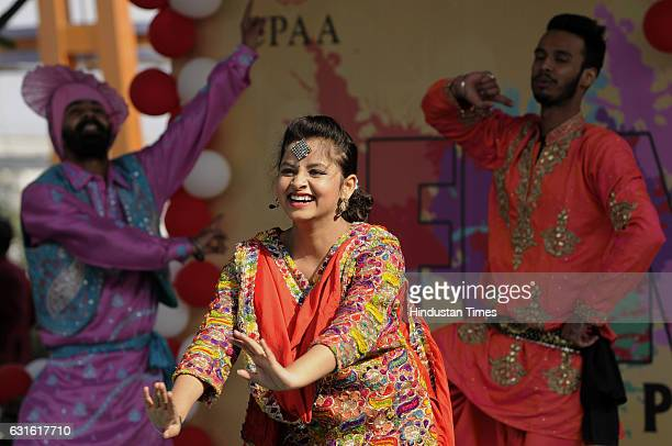 Group of dancers from Punjab performs during the Lohri celebrations at The Great India Place Mall, on January 13, 2017 in Noida, India. It is one of...