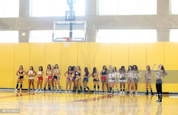 A group of dancers waits to hear their numbers called at the HEAT Dancer Auditions on Sunday Aug 6 2017 at the AmericanAirlines Arena as the Miami...