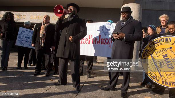 A group of demonstrators before a hearing in Connecticut Superior Court for Brianna Brochu the former University of Hartford student accused of...