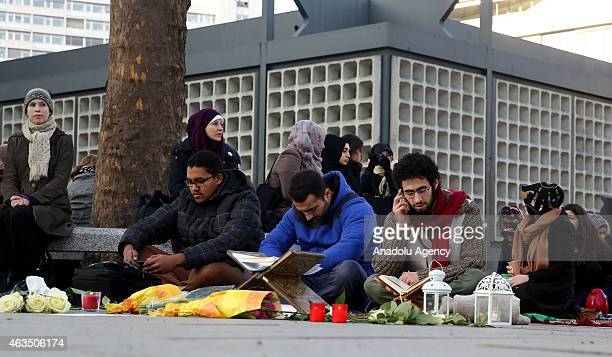 A group of demonstrators gather at Breitscheidplatz square to protest against the Chapel Hill shooting in Berlin Germany on February 15 2015 Three...