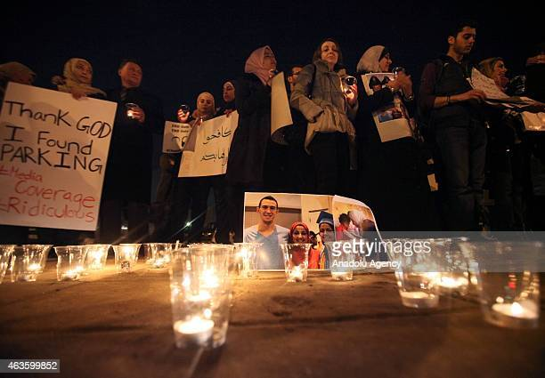 A group of demonstrators gather in front of American Embassy in Amman to protest against the Chapel Hill shooting in Amman Jordan on February 16 2015...