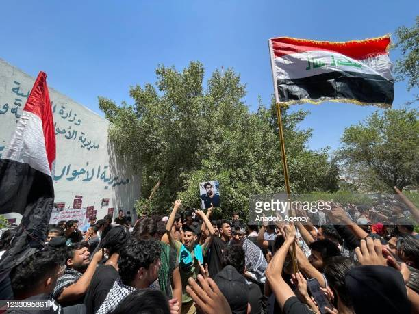 Group of demonstrators gather to protest against assassinations of civil activists and public service shortage at Nusur Square in Baghdad, Iraq on...