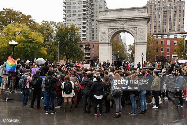 Group of demonstrators gather to protest against Donald Trump's presidency at Washington Square Park on November 9, 2016 in New York City.