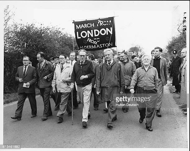 A group of demonstrators including Members of Parliament and the future leader of the British Labour Party Michael Foot march from Aldermaston to...