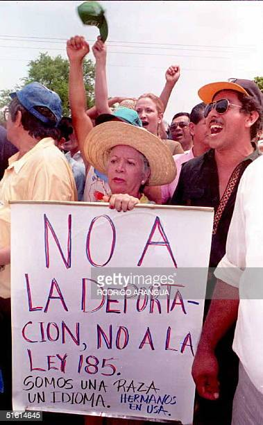A group of demonstrators protest infront of the US Embassay April 29 1994 in Managua Nicaragua These peaceful demonstraters are marching in support...