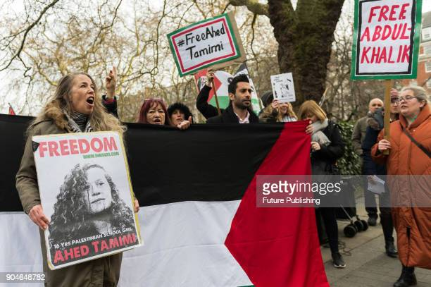 A group of demonstrators stage a protest in support of Ahed Tamimi and Palestinian child prisoners outside the US Embassy on January 13 2018 in...