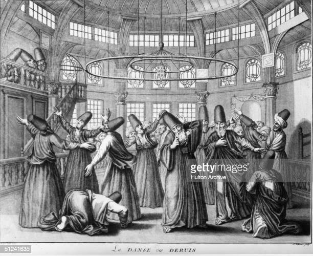1731 A group of dervishes a Muslim fraternity who have professed to lead a humble and austere life doing the dance of the Whirling Dervishes