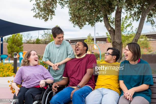 a group of disabled people - intellectually disabled stock pictures, royalty-free photos & images