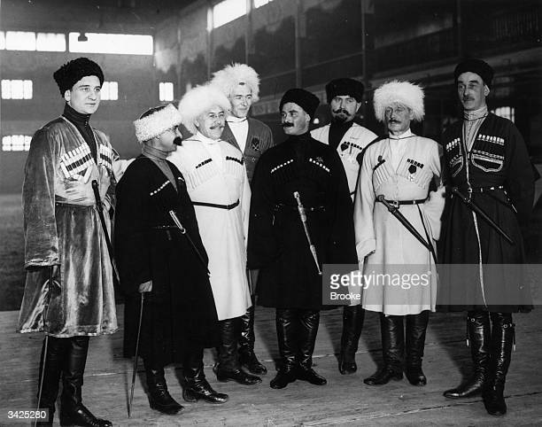 A group of distinguished Cossacks at a performance of traditional Cossack music dancing and equestrian feats at Holland Park Hall in London 2nd...