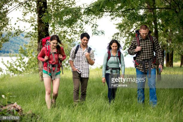 Group of diverse friends hiking