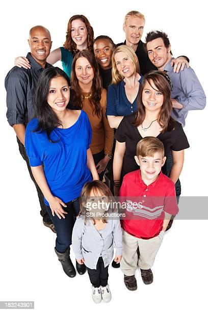 Gruppe von verschiedenen glückliche Menschen, Blick nach oben, ganzer Körper