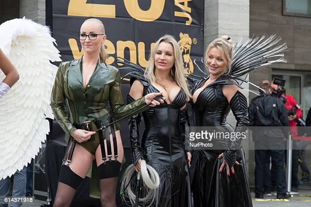 A group of dominas attend the opening of the 20th Venus Erotic Fair at Palais am Funkturm in Berlin Germany on October 13 2016
