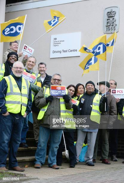A group of driving examiners on a picket line outside the driving test centre in Barnet north London at the start of a 48 hour strike over their pay...