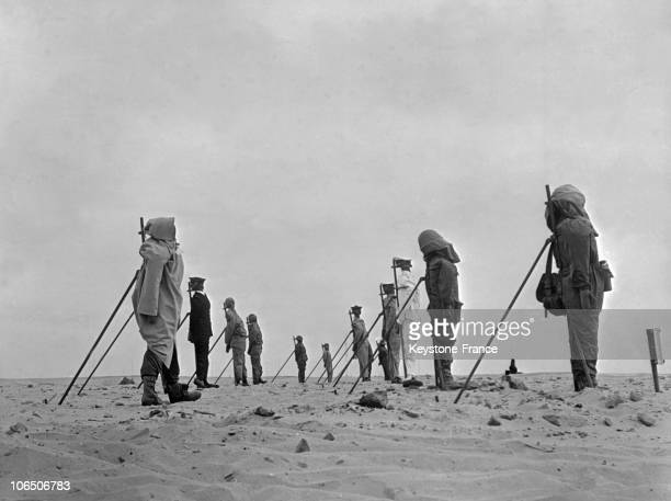 A group of dummies set up on the French nuclear weapons testing range near Reggane Algeria before France's third atomic bomb test 27th December 1960