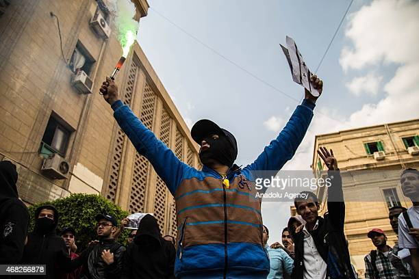 A group of Egyptians mostly including students who call themselves as 'AntiCoup demonstrators' stage a demonstration at Cairo University in Giza...