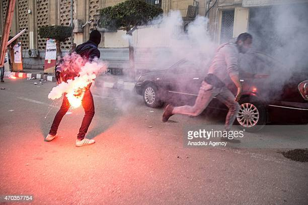 A group of Egyptians who call themselves as 'AntiCoup demonstrators' stage demonstration against Egypt's elSisi government at Cairo University in...