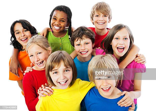group of embraced kids. - offspring stock pictures, royalty-free photos & images