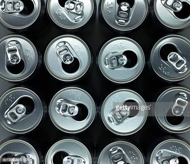 Group of empty beverage cans, view from above (full frame)