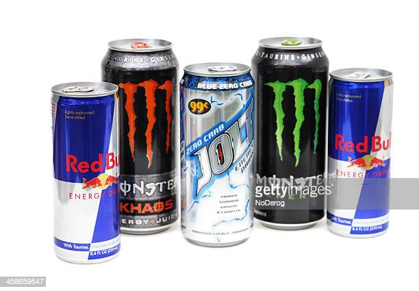 Group of energy drinks including Red Bull