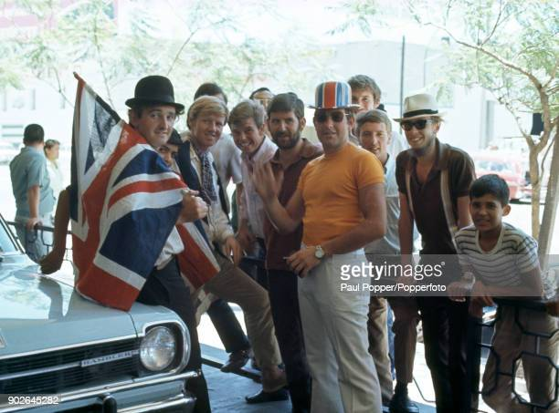 A group of England fans outside the England team's hotel in Guadalajara during the 1970 FIFA World Cup in Mexico 30th May 1970