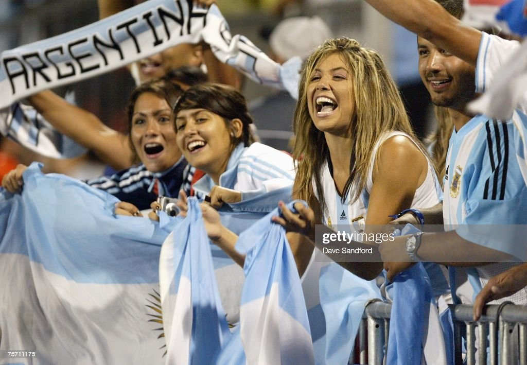 A group of fans cheer on Argentina as Argentina takes on Chile in the FIFA U-20 World Cup Canada 2007 semifinal game at BMO Field on July 20, 2007 in Toronto, Ontario, Canada. Argentina won the game 3-0 to advance to the finals.