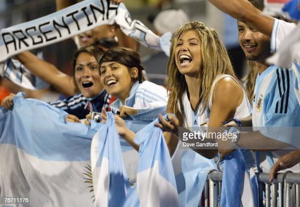 Group of fans cheer on Argentina as Argentina takes on Chile in the FIFA U-20 World Cup Canada 2007 semifinal game at BMO Field on July 20, 2007 in...