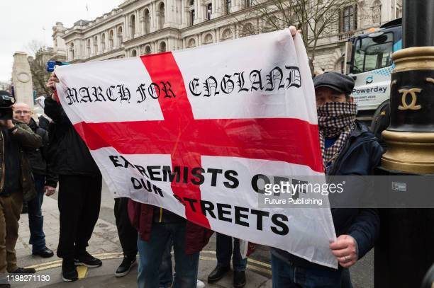 Group of far right pro-Brexit supporters demonstrate outside Downing Street as thousands mark Brexit day on 31 January, 2020 in London, England....