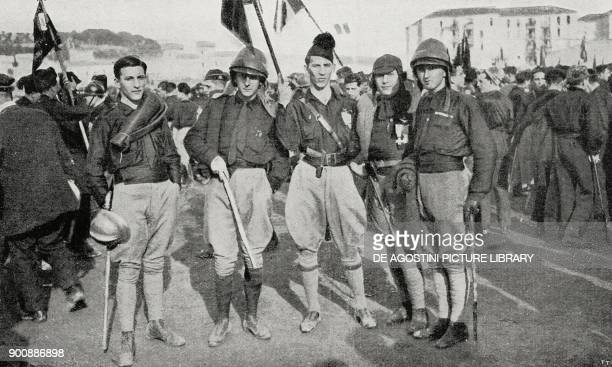 Group of fascist airmen fascist gathering in Naples Italy October 24 from L'Illustrazione Italiana Year XLIX No 45 November 5 1922