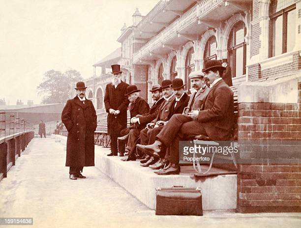 A group of fashionably dressed men sitting in front of the pavilion at the Kennington Oval cricket ground in London circa March 1898 The occasion is...