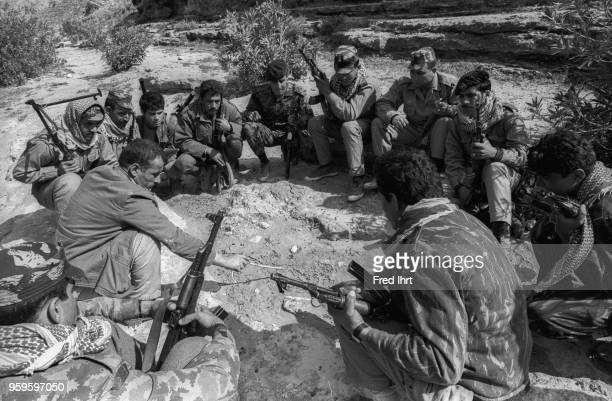 Group of Fatah fighters members of the Palestine Liberation Organisation PLO. Fatah has been closely identified with the leadership of its founder...