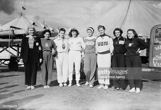A group of female athletes at HenleyonThames the venue for the canoeing and rowing events during the London Olympics 1948