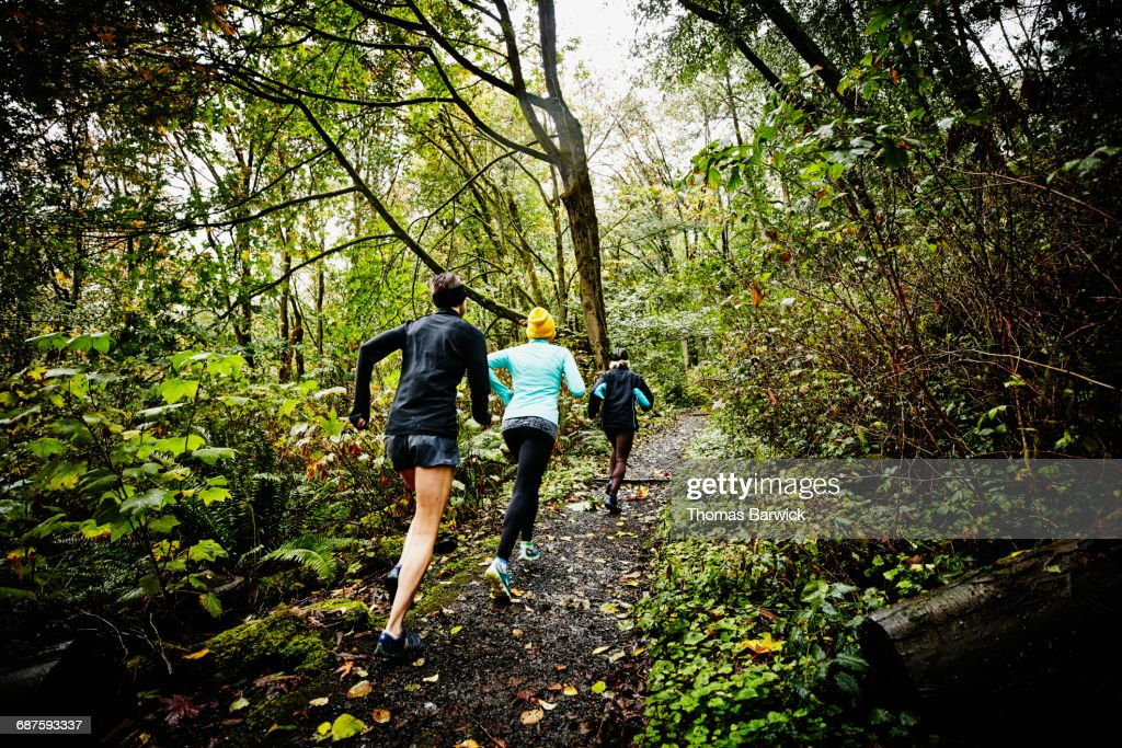 Group of female friends running up forest trail : Stock Photo