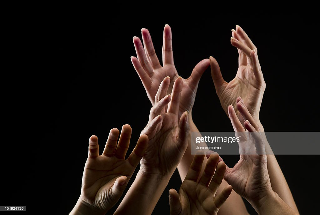 Group of female hands reaching towards the sky : Stock Photo