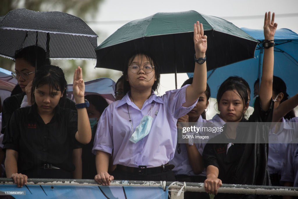 A group of female high school students leaders from the... : News Photo
