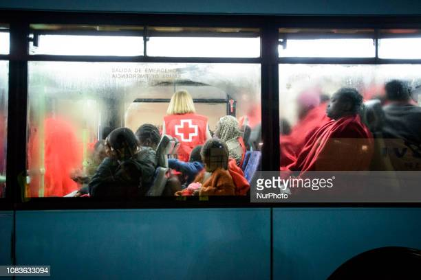 A group of female inside the bus to be transferred to a center Since the beginning of the year 2019 around 1300 rescued migrants have disembarked at...
