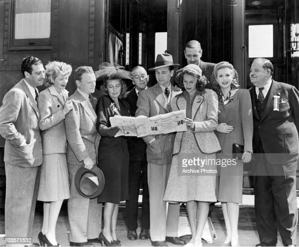 A group of film stars leave for Ensenada in Baja California to entertain Mexico's troops circa 1942 From left to right Mark Sandrich Lucille Ball...