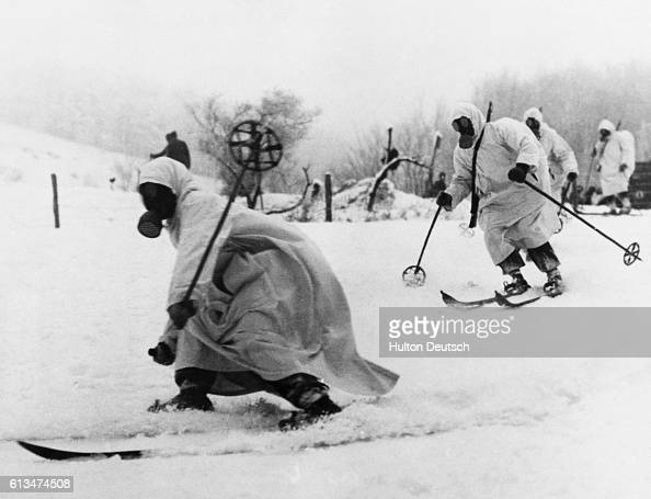 A group of Finnish alpine troops or 'ghost troops' on skis
