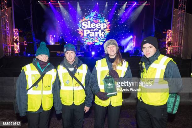 A group of first aid helpers pose in front of the stage of Sleep In The Park a Mass Sleepout organised by Scottish social enterprise Social Bite to...