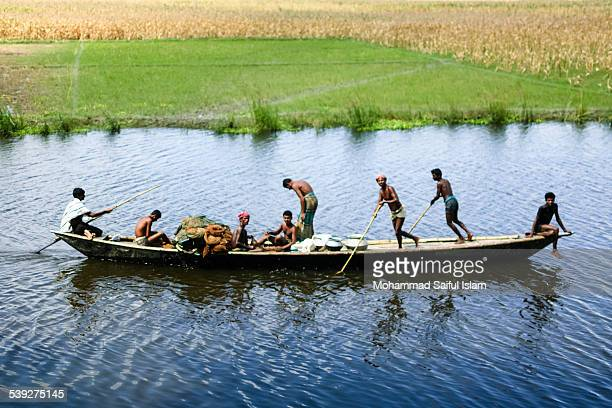 Group of fishermen was fishing in the river in Dhunot, Bogra, Bangladesh.