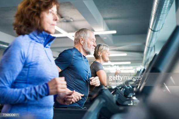 Group of fit seniors on treadmills working out in gym