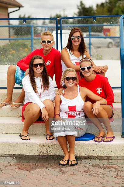 a group of five lifeguard friends - lifeguard stock pictures, royalty-free photos & images