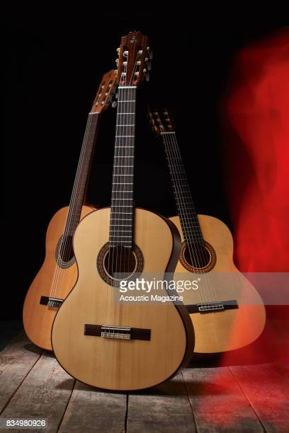 A group of flamenco guitars including an Alhambra 2F Admira F4 and a Camps M5S taken on January 18 2017