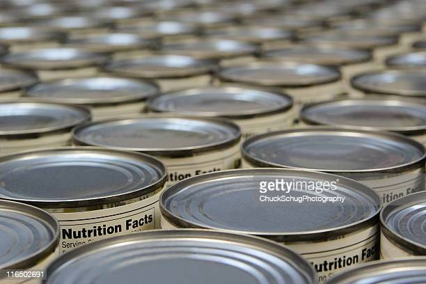 a group of food cans with the nutrition fact label showing - canned food stock pictures, royalty-free photos & images