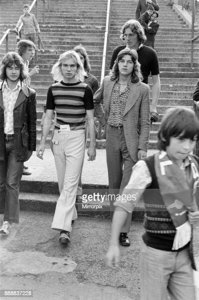 Group of football supporters leave Highbury after an Arsenal match October 1972
