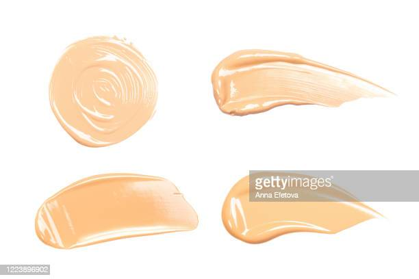 group of foundation strokes - cream colored stock pictures, royalty-free photos & images