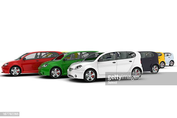 Group of four door cards with hatchbacks in assorted colors