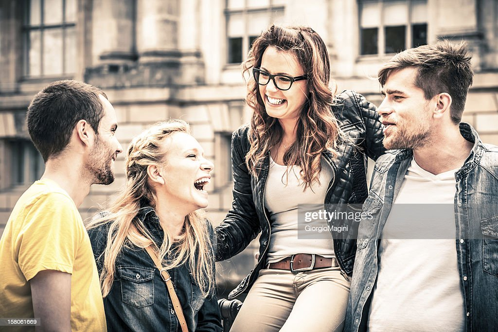 Group of Four Friends Having Fun Together : Stock Photo